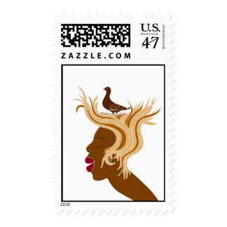 Woman With Bird Postage Stamp