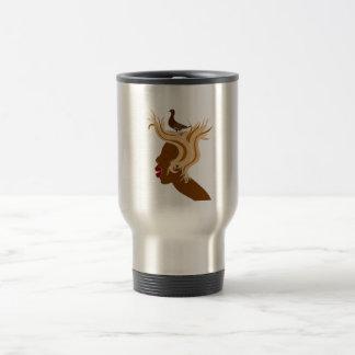 Woman With Bird Travel Mug