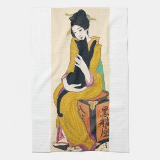 Woman with Black cat, Yumeji Takehisa Towel