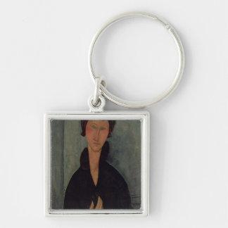 Woman with Blue Eyes, c.1918 Silver-Colored Square Keychain