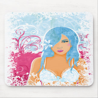 Woman With Blue Hair - floral mousepad