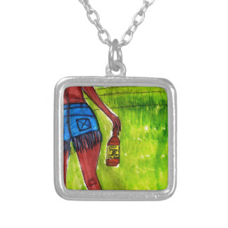 Woman with Bottle of Whiskey Silver Plated Necklace