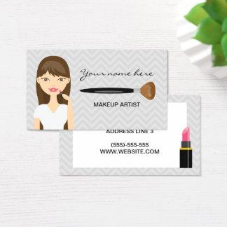 Woman With Brown Long Hair Makeup Artist Business Card