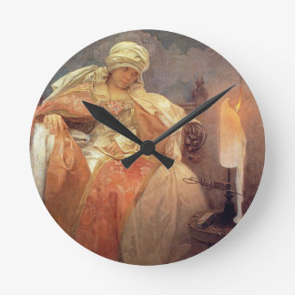 Woman with Burning Candle Round Clock