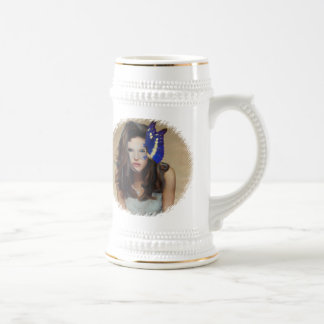 Woman With Butterfly Mask Beer Stein