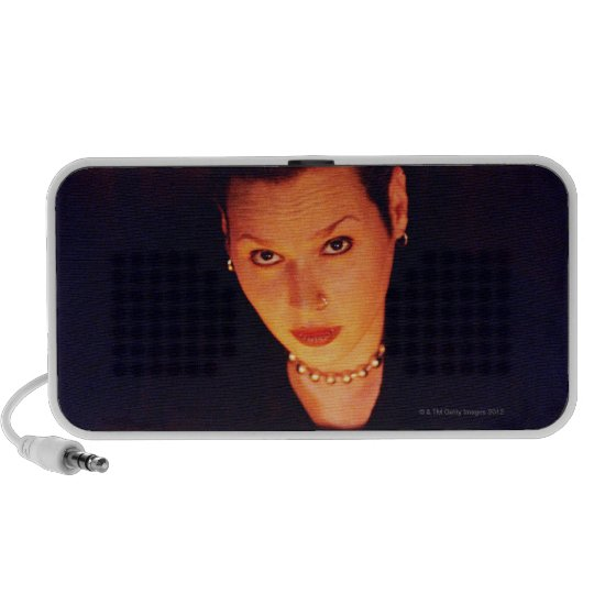 Woman with candles portable speaker