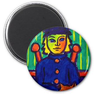 Woman with Cat 31 by Piliero 2 Inch Round Magnet