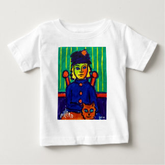 Woman with Cat 31 by Piliero Baby T-Shirt