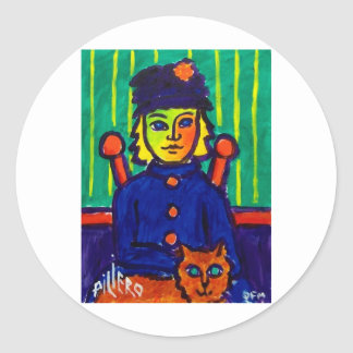 Woman with Cat 31 by Piliero Classic Round Sticker