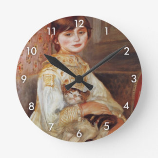 Woman with Cat, Auguste Renoir Round Clock