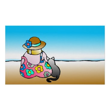 Beach Themed Woman with cat by the sea - Frau mit Katze am Meer Poster