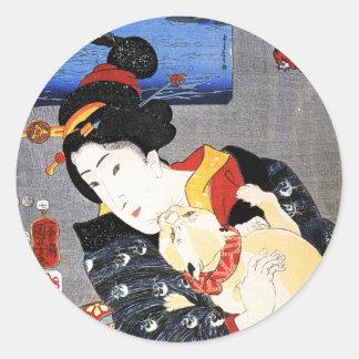 Woman with Cat by Utagawa Kuniyoshi 歌川国芳 Classic Round Sticker