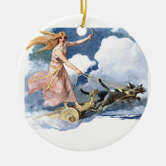 Woman with Cat Chariot Artwork Ceramic Ornament