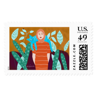 Woman with cat in garden by SpaceTempoDesign Postage