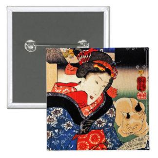 Woman with Cat - Japanese Art - Utagawa Kuniyoshi Button
