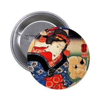 Woman with Cat - Japanese Art - Utagawa Kuniyoshi Buttons