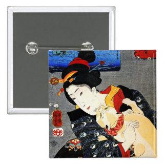 Woman with Cat -Japanese Art - Utagawa Kuniyoshi Pins