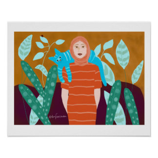 Woman with cat poster