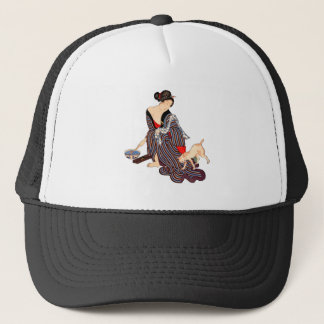 Woman with Cat Trucker Hat