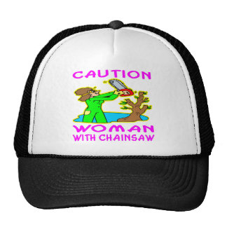 Woman With Chainsaw Mesh Hats