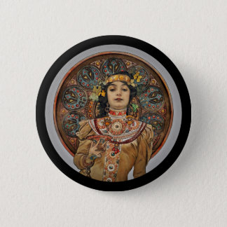 Woman with Champagne Glass Button