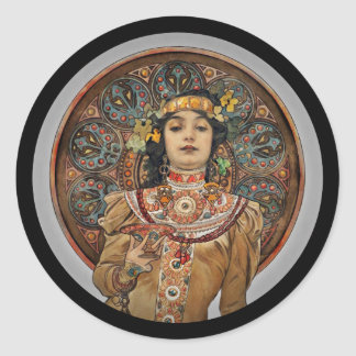 Woman with Champagne Glass Classic Round Sticker