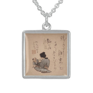 Woman with Child Watercolor Square Pendant Necklace
