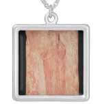Woman with chinese features in Nestorian Square Pendant Necklace