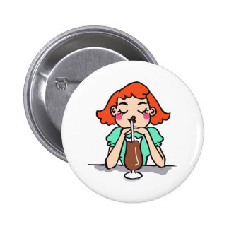 WOMAN WITH CHOCOLATE BUTTONS