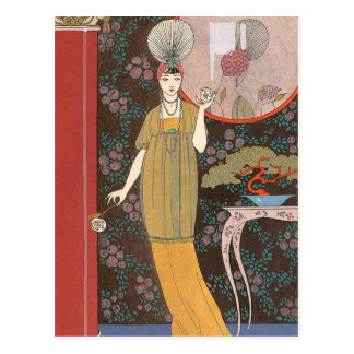 Woman with Cream Colored Roses Postcards