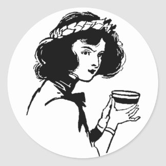 Woman with Cup Vintage Picture You Can Add To Classic Round Sticker