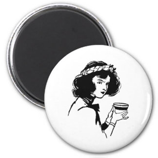Woman with Cup Vintage Picture You Can Add To Fridge Magnets