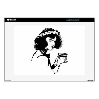 Woman with Cup Vintage Picture You Can Add To Laptop Skin