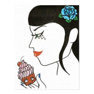 Woman with Cupcake Postcard