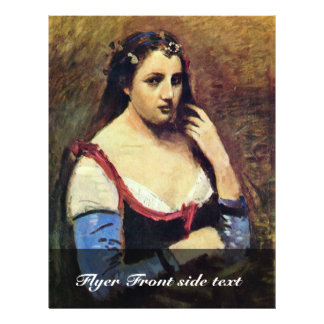 """Woman With Daisies By Corot Jean-Baptiste-Camille 8.5"""" X 11"""" Flyer"""