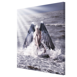 woman with dark angel wings canvas print