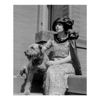 Woman with Dog, 1920s Poster