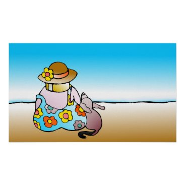 Beach Themed Woman with dog by the sea - Frau mit Hund am Meer Poster