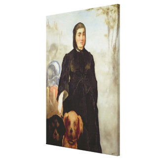 Woman With Dogs, 1858 (oil on canvas) Canvas Print
