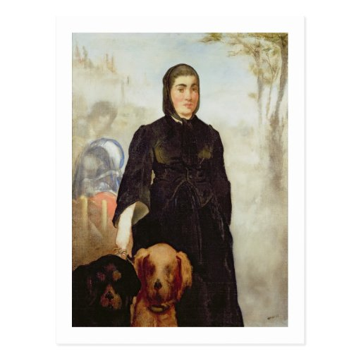 Woman With Dogs, 1858 (oil on canvas) Postcard