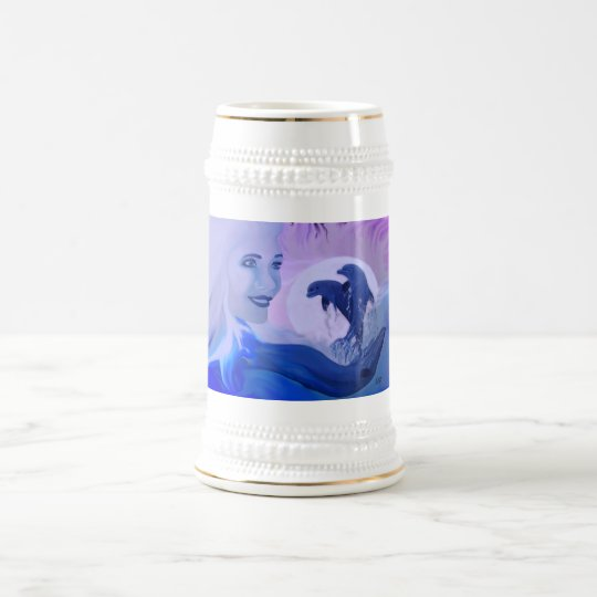 Woman with dolphins in the moonlight beer stein