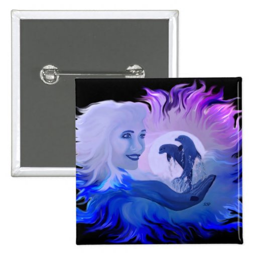 Woman with dolphins in the moonlight buttons