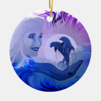 Woman with dolphins in the moonlight ceramic ornament