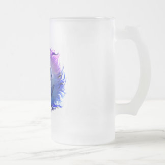 Woman with dolphins in the moonlight frosted glass beer mug