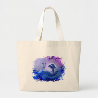 Woman with dolphins in the moonlight large tote bag