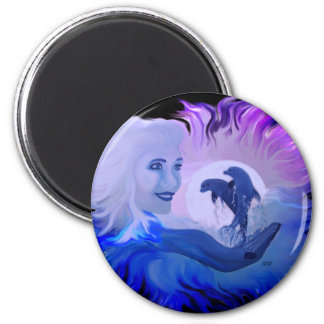 Woman with dolphins in the moonlight magnet