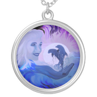 Woman with dolphins in the moonlight necklace