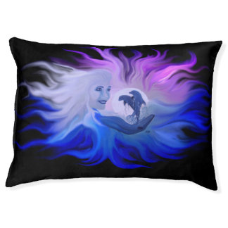 Woman with dolphins in the moonlight pet bed