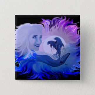 Woman with dolphins in the moonlight pinback button