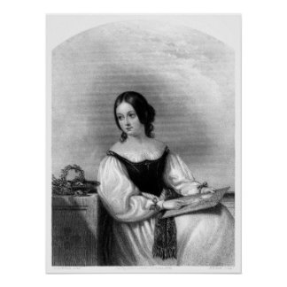 Woman with drawing poster